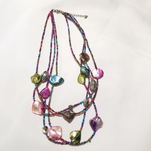 Jewelry - Multi strand faux mother of pearl necklace